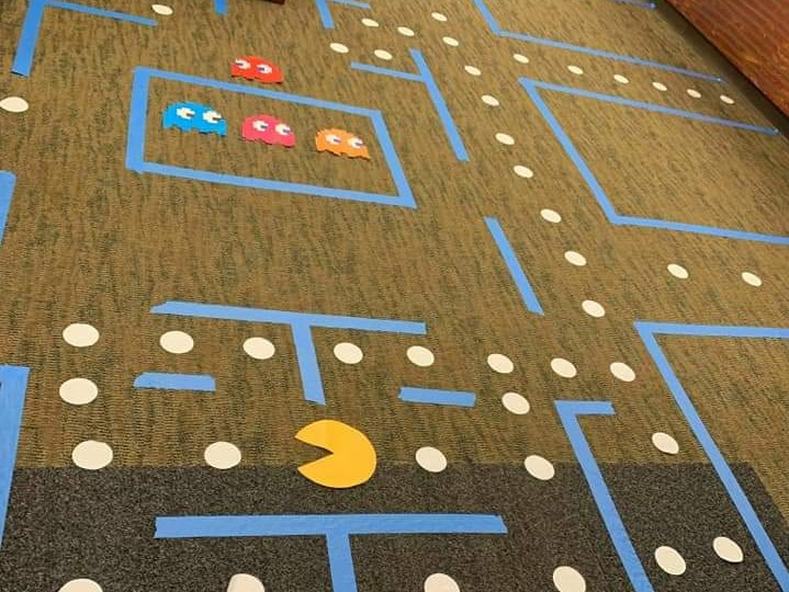 Last year staff from a Charlotte credit union treated patrons to a Pac-Man themed environment for Hallowe'en. [Image by Frank Breneman]
